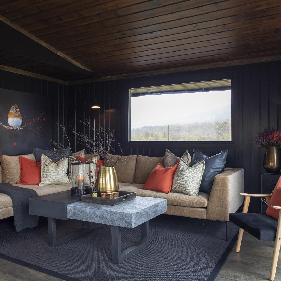 Stue på en hytte med malte vegger i mørk frage