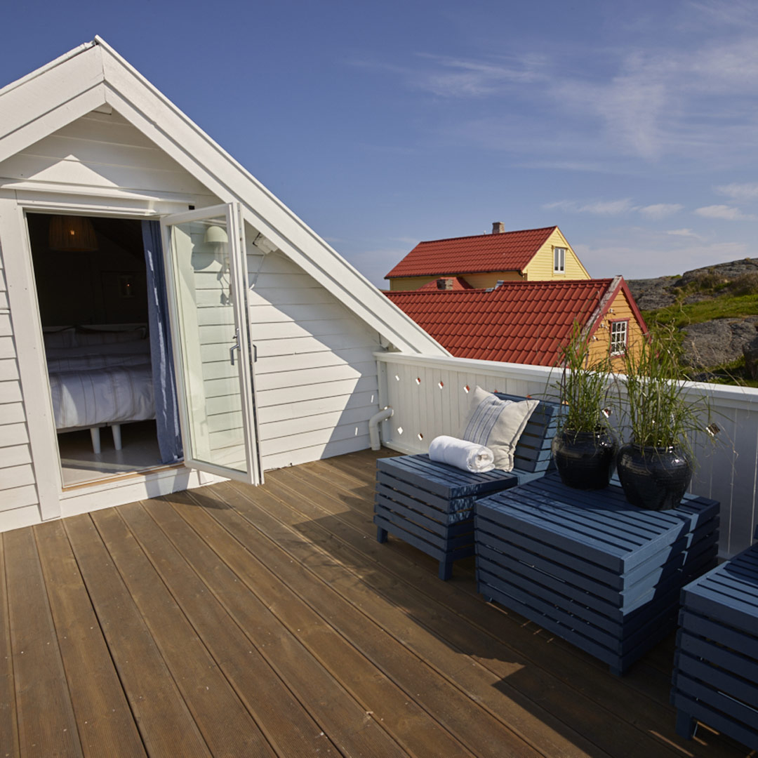 Utgang fra soverom til takterrasse på hytte