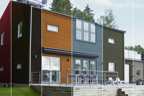 Moderne hus malt i 6 ulike farger