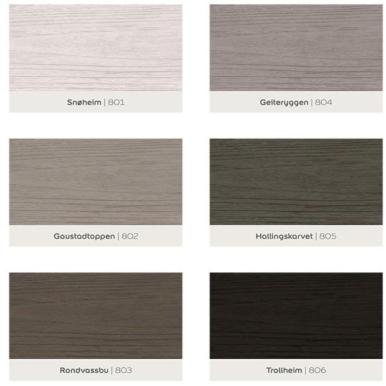 oversikt over 6 farger fra fargekart for beis