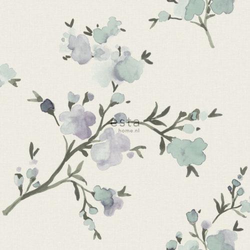 utsnitt av hvit tapet med blomster