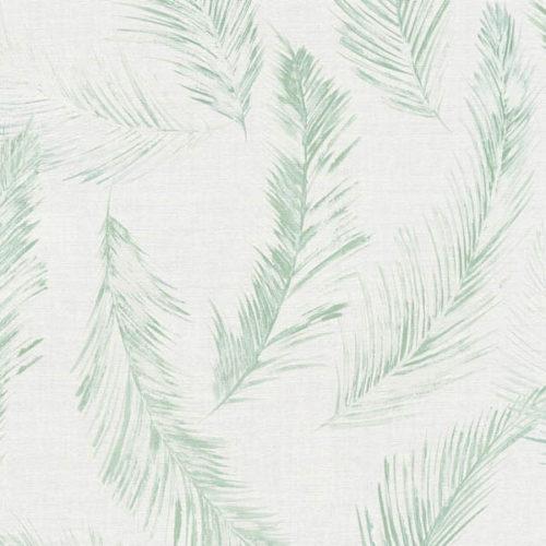 utsnitt av hvit tapet med grønne planter